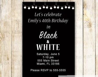 Black white invite | Etsy