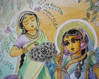 illustration original art work by syam Marquez devotional art Sri Radha and Gopis home altars wall art