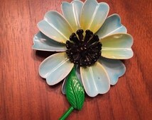 Vintage Enamel Blue Daisy Flower Brooch