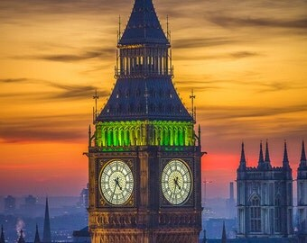 London Photography - Big Ben at Sunset, London Art, London Print, London Skyline Photography