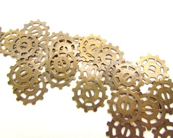 Antiqued Brass Metal Gear Charms / Cogs , Sprockets