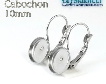 Cabochon pad on Hypoallergenic stainless steel french clip  10mm