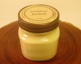 Leather Jacket 8 oz. Soy Mason Jar Candle // Wood Wick // Home/Western/Manly Scent