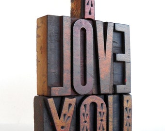 25% OFF - I Love You -8 Vintage Letterpress Wooden Letters Collection LP56