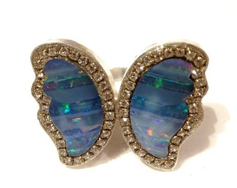 FALL SALE Butterfly Opal matched pair Sterling silver ring