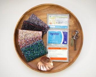 Glitter Travel Wallet / Oyster Card Holder - Travel Card - Travel Card Holder - Business Cards - Credit Card - Wallet - Purse - Glittery