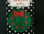 Christmas Wreath Embroidered Felt Clip by The Spunky Little Monkey