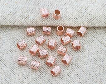 20 of karen hill tribe  Rose Gold  Vermeil Style Facet Hammer Tubular Beads 4 mm.  :pg0224