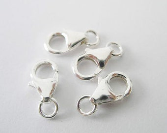 4 of 925 Sterling Silver Lobster Clasps 6x10 mm. :th0293