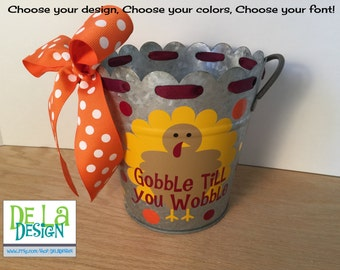 "Personalized Fall, Thanksgiving Gift basket, scallop edge metal medium 6"" bucket, desk organizer, turkey design, name, ribbon,  teacher gift"