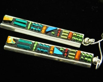 Deco Style Dichroic Glass Earrings and Beads in Parrot Colors
