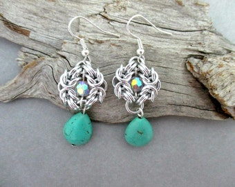 Romanov Chainmaille Earrings - Gemstone Tear Drop Earrings - Turquoise Magnesite Tear Drop - Earrings for Sensitive Ears - Chainmaille