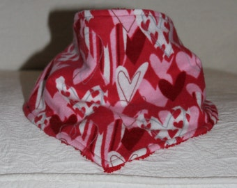 Bandana Bib Girl Drool Bib with a Darling Heart Print in Pink White and Red Flannel and Red Terry Cloth Lining for Teething Baby Girl