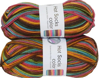 German self striping superwash sock yarn Hot Socks  color Grundl, color 400