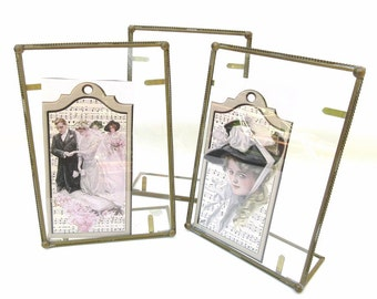 Retro Brass Glass Displays, Brass Easels, Glass Photo Frames, Postcard Display, Mexican Glass Stand - Set of 3
