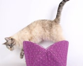Purple Geometric Flowers Cat Canoe - Modern Pet Bed Made in Washington
