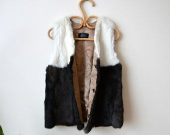 Tailored Rabbit Fur Vest Vintage Style Loose Fit Retro Black&White Vest
