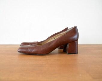 Leather Pumps Square Toe Vintage Shoes Women Size US 8 1/2 EU 39 Brown
