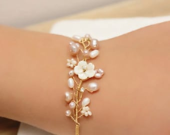 Bridesmaid Gift Mother of Pearl Flower and Rhinestone Cluster Bracelet