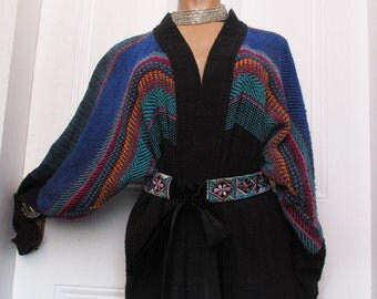 Vintage Handwoven Hippie Striped Sweater Cardigan cozy cool med.