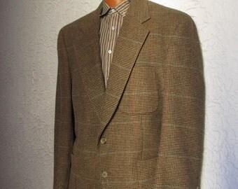 Vintage Men's Burberry Plaid Check Jacket Camel Hair medium