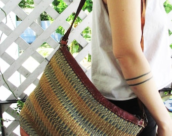 Vintage Leather Woven  Market Bag hippie purse hand woven Huge