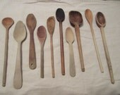 10 Vintage Wooden Spoons, Primitive, Rustic Home Decor, Photography Prop, Staging, Utensil