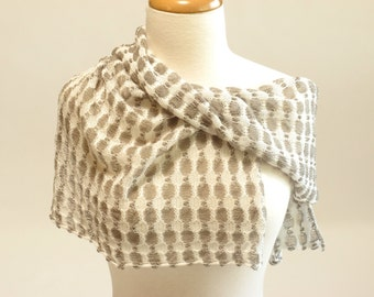 Shawl Scarf, Organic Cotton and Linen, White