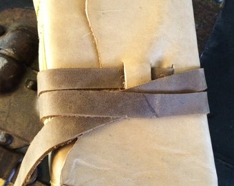 Hand-made Buff Colored Leather Art Journal