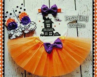Halloween girl outfit,Happy Halloween Haunted House 2016 outfit, happy Halloween bodysuit and tutu set,  orange purple Halloween costume