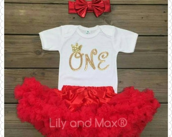 RED and gold ONE Outfit, red and gold Birthday set, Embroidery Sparkly Glitter ONE outfit with red chiffon pettiskirt