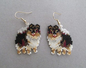 Beaded Black& Tan Pomeranian Earrings