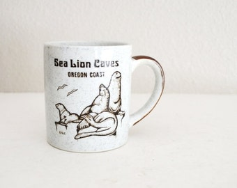 July SALE - 15% Off - Vintage 70s 80s Seal Lion Caves Oregon Coast Coffee Cup Mug