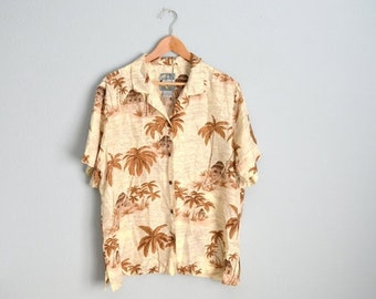 STOREWIDE 15% off SALE - Vintage 90s Ivory SILK Short Sleeve Oversized Palm Tree Hawaiian Shirt Blouse // womens large