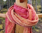 Bright Pink and Orange Handwoven Skinny Scarf