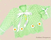 Hand knitted baby  sweater , green baby sweater,  knitted girl sweater  in soft green with white flowers, READY TO SHIP