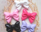 10 pcs of Resin bow tie knot cabochon flat back 22x17mm mix 5colors