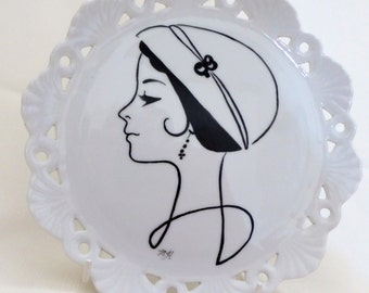 hand painted plate, porcelain plate,  decorative plate, stylized lady, painted plate, black and white,