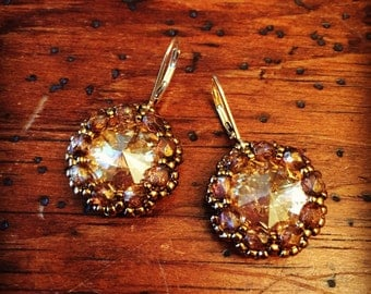 Vintage inspired gold crystal earrings, gold earrings, crystal earrings, gold crystal jewelry