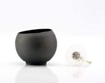 Black Ceramic Tea Cup, Black Coffee Cup, Small Ceramic Cup, Candle Holder