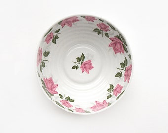Ceramic White Bowl with Flowers, Porcelain Bowl with Roses, Decorative Bowl