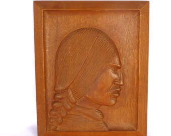 Vintage INDIAN HEAD Wall Relief CARVING
