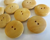 """13 Light Wood Rounded Edge Round Buttons Size 7/8"""""""