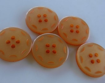 5 Light Orange Dashed Large Round Buttons Size 13/16""
