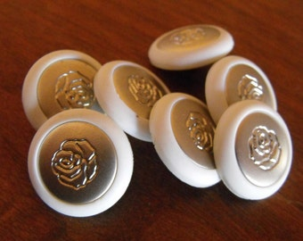 """7 White with Silver Rose Shank Round Buttons Size 13/16"""""""