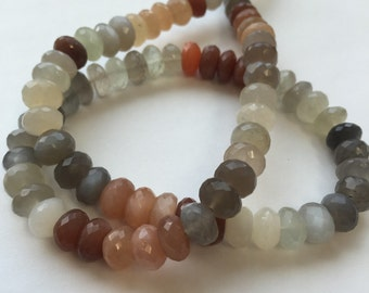 Moonstone Faceted Rondelles-Graduated
