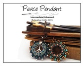 Peace Symbol beaded Donut Pendant beading pattern beading tutorial PDF instant download PEACE