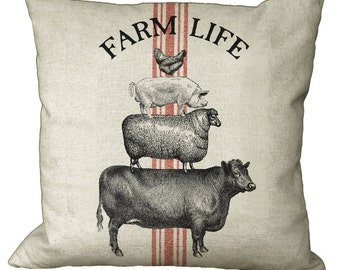 Grainsack Stripe Farm Life Cow Sheep Pig Chicken in Choice of 14x14 16x16 18x18 20x20 22x22 24x24 26x26 Inch Pillow Cover
