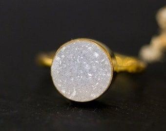 SALE - Round Druzy Ring Gold - April Birthstone Ring - Gemstone Ring - Stacking Ring - Gold Ring - Round Ring