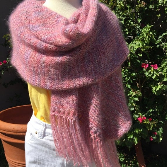 Dusty rose, mauve, mohair metallic double fiber knit wrap with matching fringe